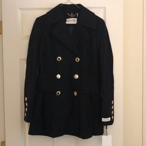 Calvin Klein black pea coat